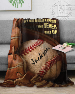 Hayooo Custom Blanket Baseball Never give up