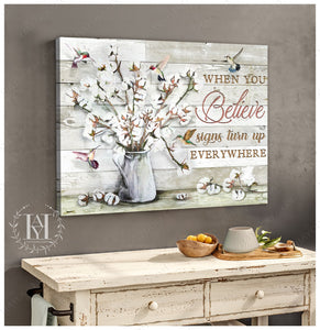 Hayooo Beautiful Cotton Flowers Canvas Print Wall Art For Farmhouse Decor When You Believe
