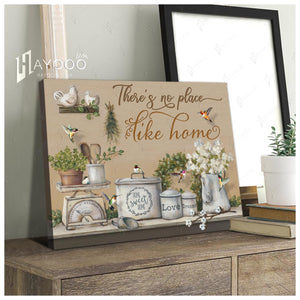 Hayooo There'S No Place Like Home Vintage Farmhouse Kitchen And Hummingbirds Canvas Wall Art Decor