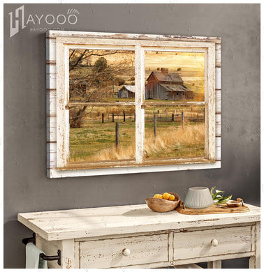 Hayooo Beautiful Barn In The Afternoon Through Rustic Window Canvas Wall Art For Farmhouse Decor