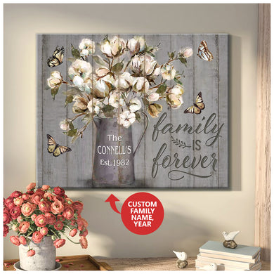 Hayooo Custom Family Name And Year Of Establishment Canvas Family Is Forever Butterfly Wall Art For Farmhouse Decor