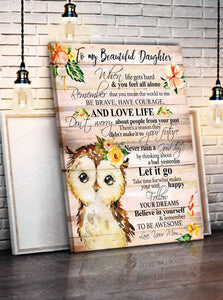 CANVAS - OWL - Daughter (Mom) - Remember to be Awesome - yenyenstore