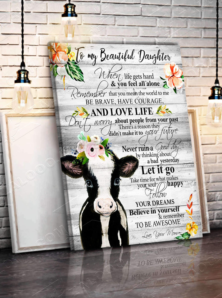 CANVAS - COW - Daughter (Mom) - Remember to be Awesome - yenyenstore