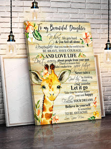 CANVAS - GIRAFFE - Daughter (Mom) - Remember to be Awesome - yenyenstore