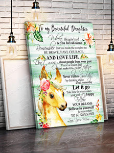 CANVAS - HORSE - Daughter (Mom) - Remember to be Awesome - yenyenstore