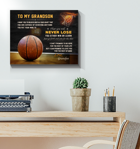 Basketball Canvas To My Grandson Never Lose - Hayooo Shop