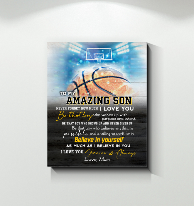 Basketball Canvas To My Amazing Son Believe In Yourself - Hayooo Shop