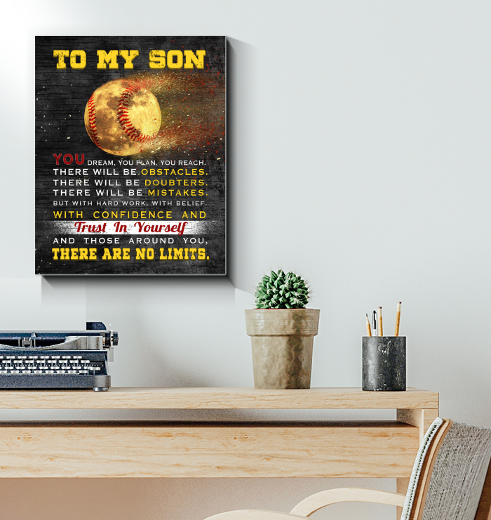 Baseball Canvas To My Son There Are No Limits - Hayooo Shop