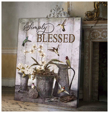 Hayooo Simply Blessed Vintage Farmhouse And Gardening Hummingbird Canvas Wall Art Decor