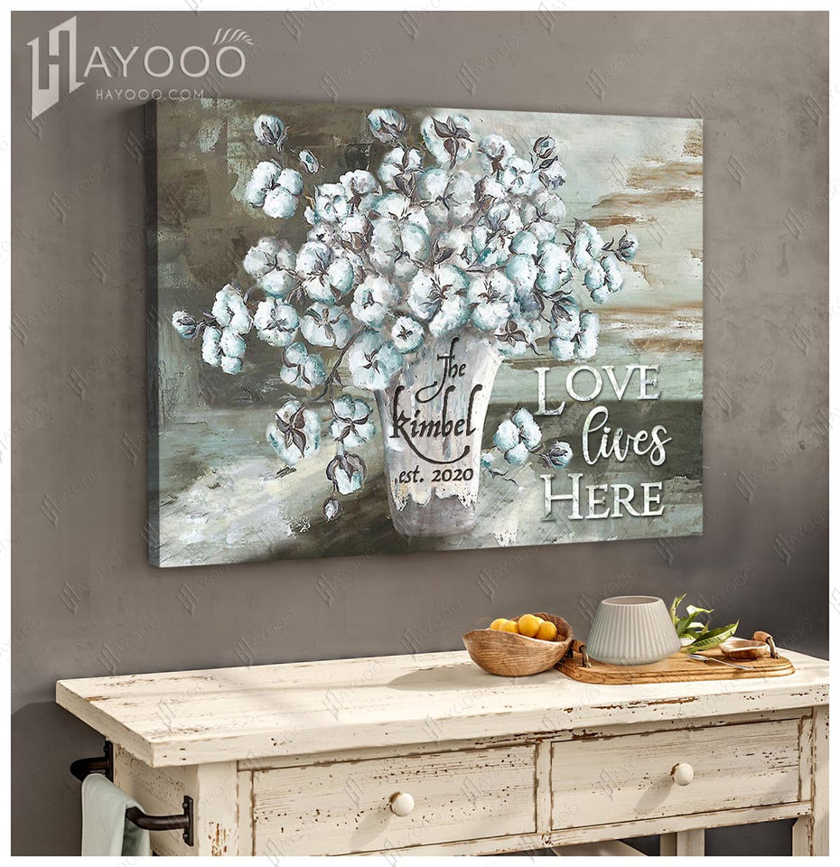 Hayooo Custom Family Name & Year Canvas Love Lives Here And Farmhouse Cotton Flower  Wall Art Decor