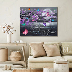 Hayooo In Loving Memory Gifts Always On My Mind Butterfly Canvas Print Wall Art