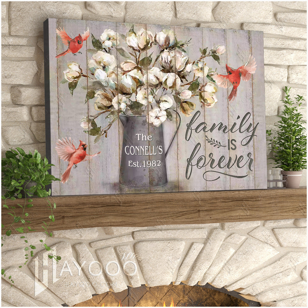 Hayooo Custom Family Name & Year Cotton Flower Canvas Print Cardinal Family Is Forever