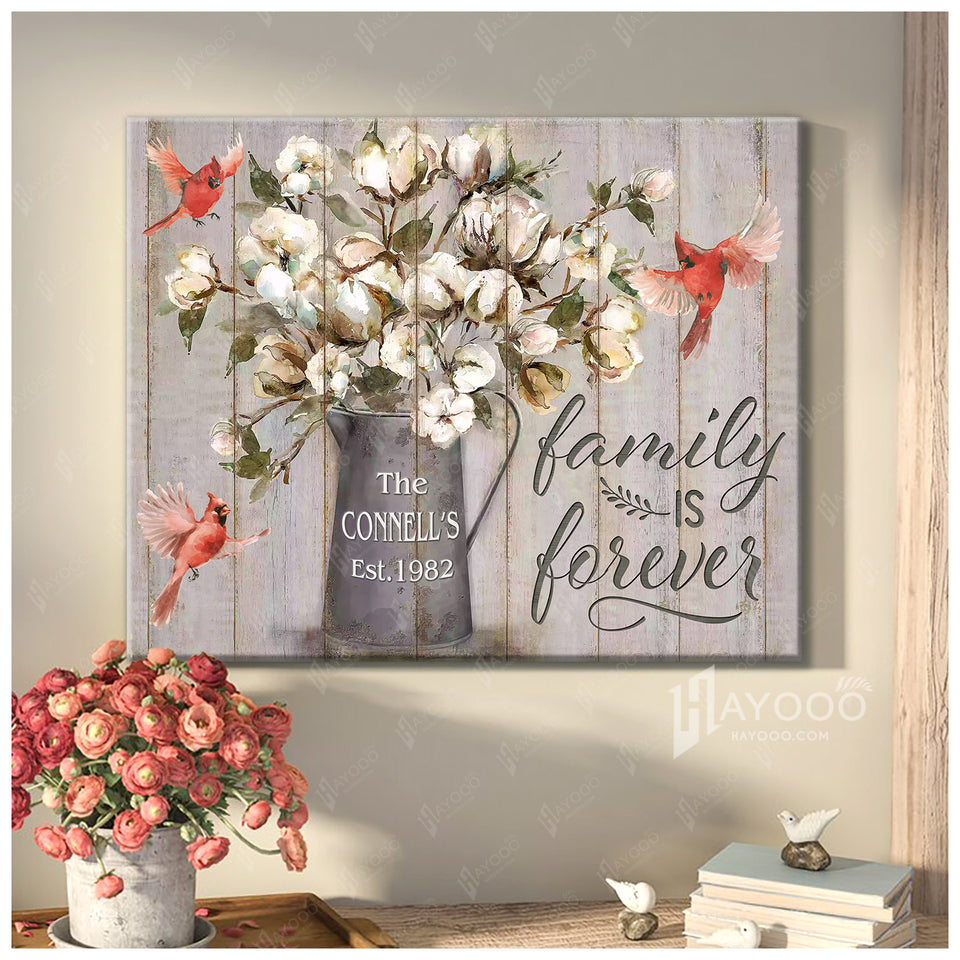 Custom Family Name & Year Canvas Cardinal Family Is Forever
