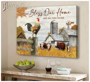 Hayooo Farm Bless Our Home  Canvas Wall Art Decor