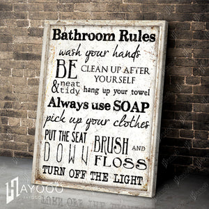 Hayooo Top Beautiful Bathroom Rules Canvas Wall Art For Farmhouse Decor