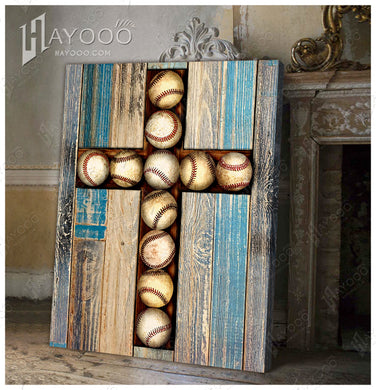 Hayooo Baseball Cross Canvas Wall Art Decor