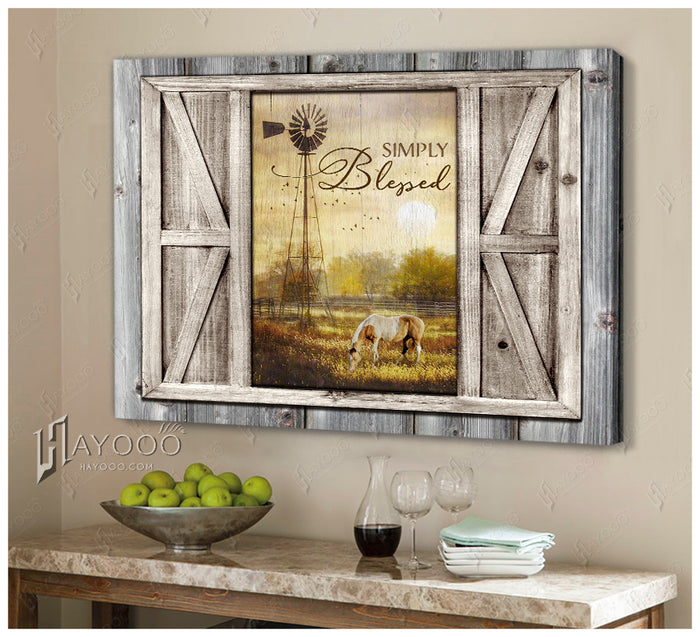 HAYOOO Simply blessed custom horsefrom rustic window of farmhouse canvas wall art decor