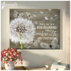 HAYOOO Top Beautiful Dandelion With Butterflies Canvas Every Day Is A New Beginning Wall Art In Rhinoceros Gray For Farmhouse Decor