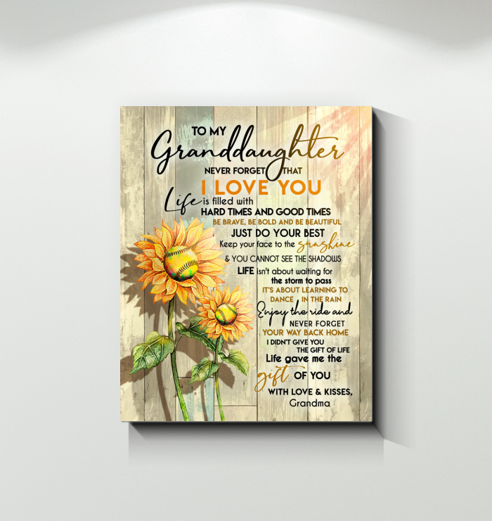 Softball - Canvas - To My Granddaughter - Keep Your Face To The Sunshine