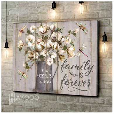 Custom Family Name And Year Canvas Dragonfly Wall Art Decor With Family Is Forever Sign