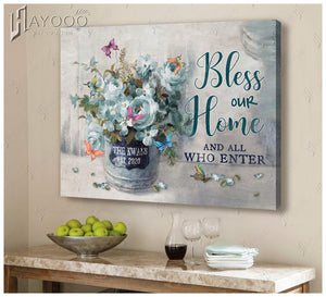 Custom family name & year canvas - Butterfly - Bless our home and all who enter