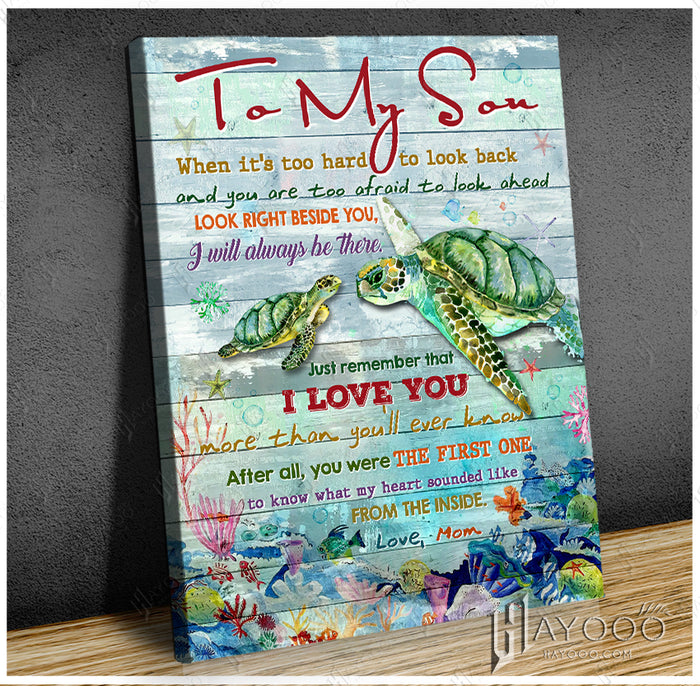 HAYOOO To my son When it's too hard to look back Turtle mom canvas wall art decor