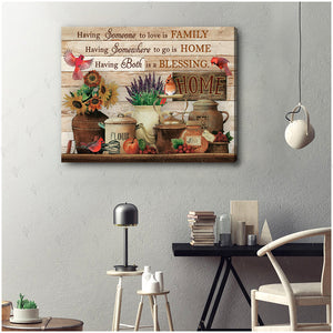 Hayooo Having Someone To Love Is Family Cardinal Canvas Wall Art Decor