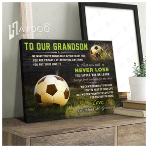 HAYOOO Best gift for your grandson Canvas To our grandson Just go forth and aim for the skies Soccer Wall Art Decor