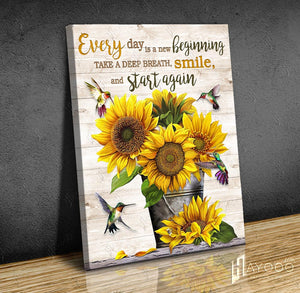 Hayooo Every Day Is A New Beginning Hummingbird And Sunflower Canvas Wall Art Decor