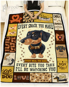 HAYOOO DOG BLANKET Dachshund I Will Be Watching You
