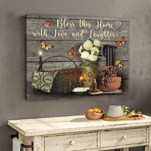 Hayooo Bless This Home With Love And Laughter Farmhouse Vintage Canvas Wall Art Decor