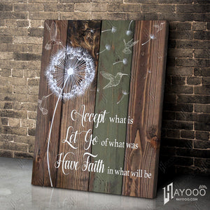 HAYOOO Beautiful Hummingbird Dandelion Rustic Wood Canvas Wall Art Home Decor Accept What Is Let Go Of What Was