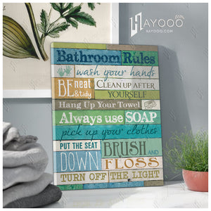 Hayooo Best Bathroom Rules Colorful Bathroom Canvas Wall Art Decor