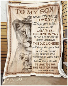 Hayooo The Best Birthday Gift For Your Son To My Son Believe In Yourself Lion Blanket For Son