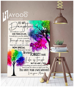 Hayooo To My Daughter You Have Your Own Matches Colorful Family Tree Canvas Wall Art Decor