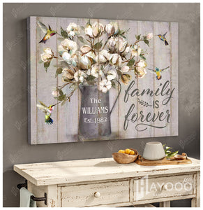 Custom Family Name & Year Canvas Hummingbird Family Is Forever