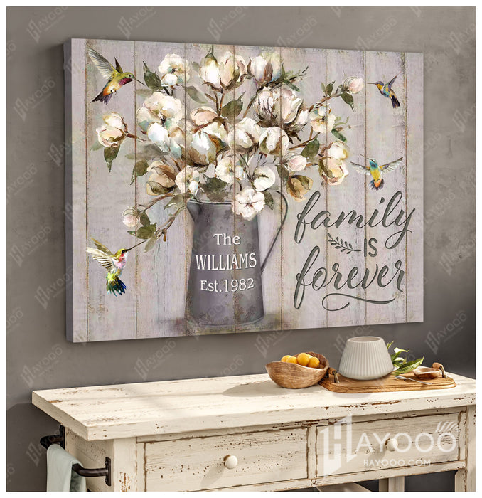 Custom family name & year canvas - Hummingbird - Family is forever