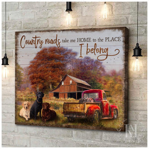 Hayooo Canvas Beautiful Country Scenery With Red Truck And Cute Labrador Dogs Country Roads Take Me Home Wall Art For Farmhouse Decor