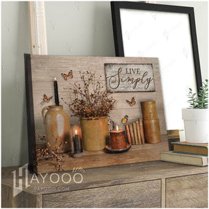 Hayooo Live Simply Farmhouse Butterfly Canvas Wall Art Decor