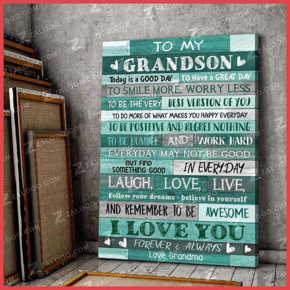 CANVAS - To My Grandson (Grandma) - Today is a good day - yenyenstore