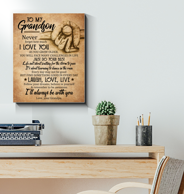 Baseball Canvas To My Grandson Laugh, Love, Live - Hayooo Shop