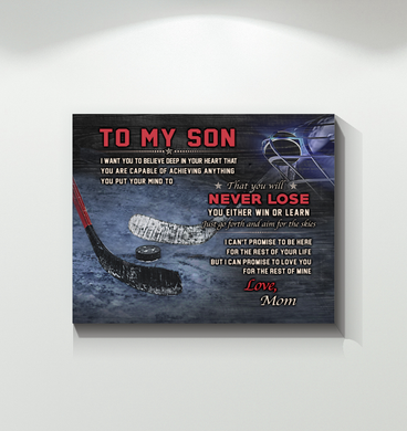 Hockey - Canvas - To My Son - Never Lose