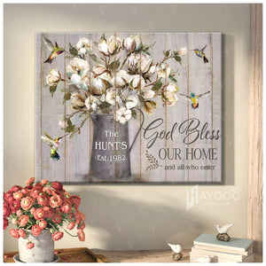 Custom Family Name & Year Canvas Hummingbirds & Cottom Flowers Bless Our Home And All Who Enter