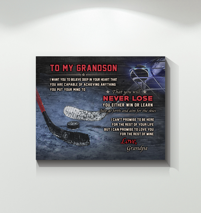 Hockey - Canvas - To My Grandson - Never Lose