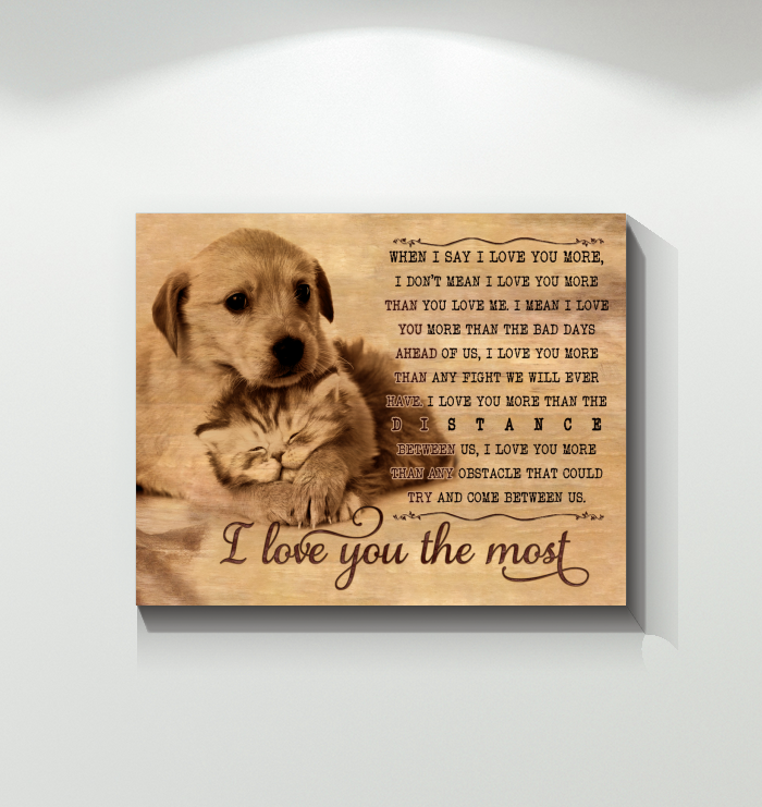 Canvas - Labrador and Cat - I Love You The Most