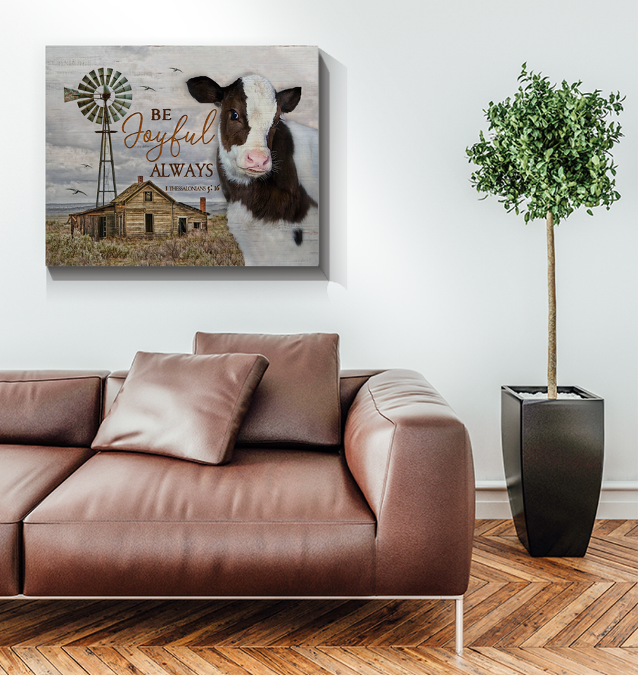 Canvas Cow Be Joyful Always