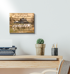 Canvas British White Cows May Your Journey - Hayooo Shop