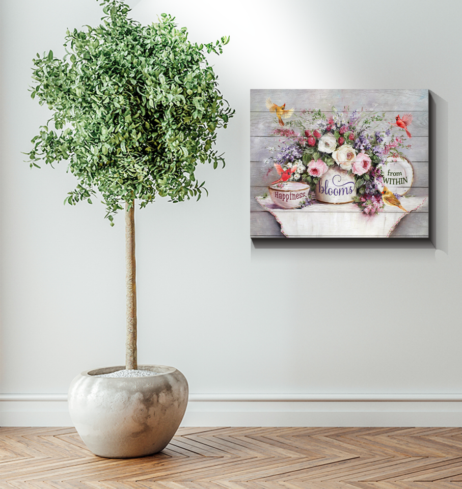 Canvas Cardinal Happiness Blooms From Within
