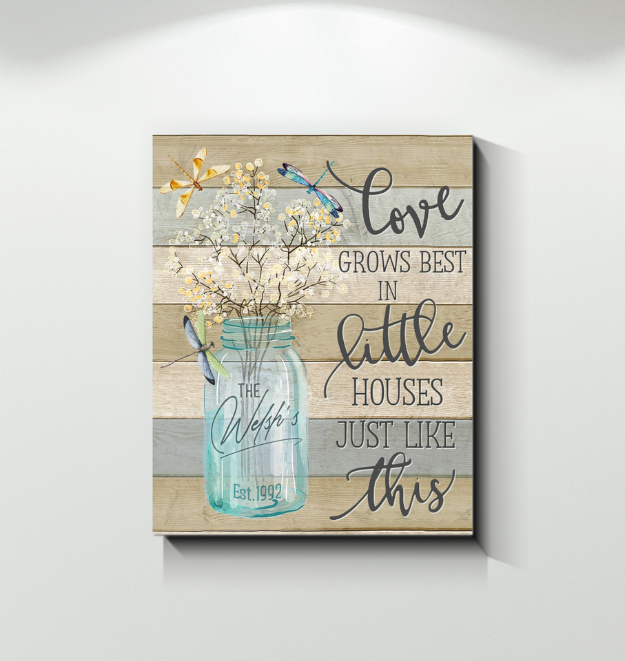 Custom Canvas - Dragonfly - Love Grows Best (The Welsh's Est. 1992)