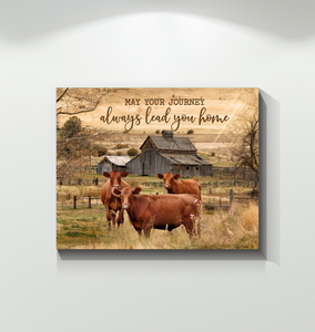Canvas Red Cows May Your Journey - Hayooo Shop